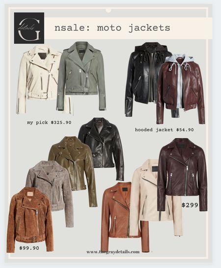 Leather jacket round up from the Nordstrom anniversary sale // blank nyc lather moto jacket / all saints moto / suede moto   #LTKunder100 #LTKworkwear #LTKstyletip