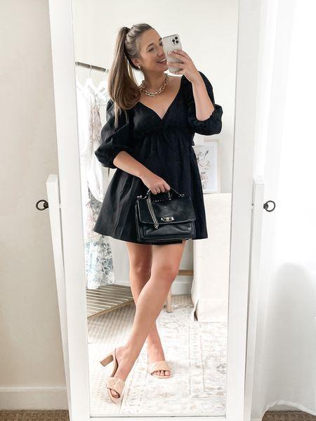 Little black dress with puffed sleeves. 🖤   LBD. Affordable fashion. ASOS. Bachelorette party. Date night. Wedding guest dress.   #LTKunder50 #LTKsalealert