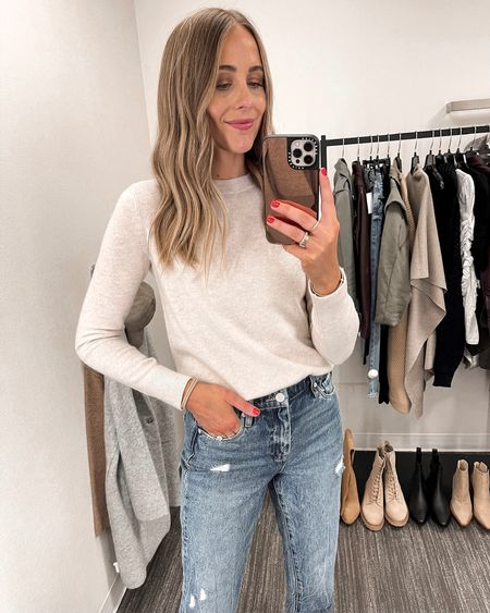 This sweater is a splurge but so worth it for a cashmere sweater. They hold up so well! Available in multiple colors. Wearing XS - fits TTS. $55 jeans that feel way more expensive! Wearing a size 26. Fits TTS. These booties were my favorite by far! So comfortable. #liketkit #NSALE #nordstrom #nordstromanniversarysale #nordstromsale #fallfashion  #LTKunder100 #LTKunder50 #LTKsalealert