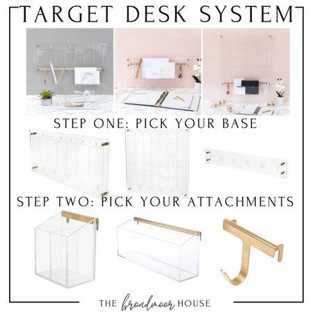 This is a really cool desk system from target! You pick one of the bases to hang on the wall and then there are attachments that hook on the bottom almost like pegboard!   Target Home , Target Finds, office supplies, desk supplies, acrylic desk supplies, brass office, modern Decor, Modern office, home decor, Organization  #LTKhome #LTKstyletip #LTKworkwear