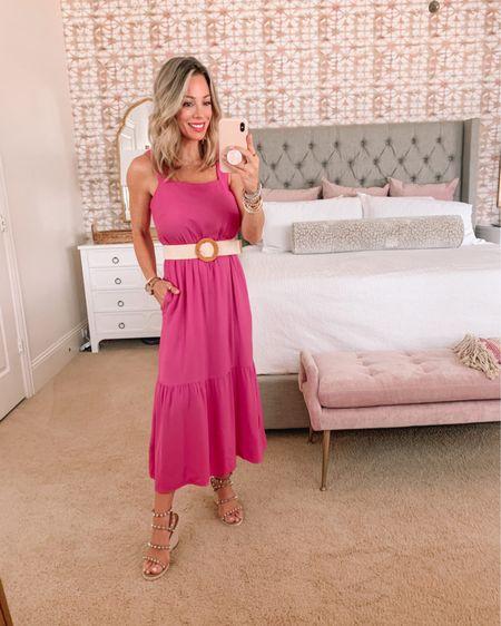 Pink Sun Dress and studded Sandals   Dress Fit: I'm wearing an XS  http://liketk.it/3hCzb #liketkit @liketoknow.it #LTKsalealert #LTKstyletip #LTKshoecrush