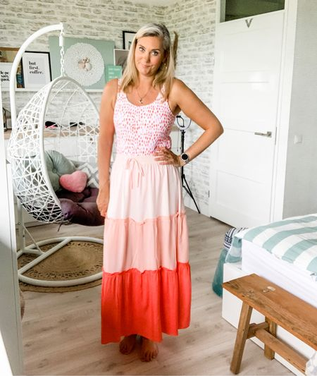 Sunset maxi skirt. Wearing a large, could have fit in a medium as well.     #LTKswim #LTKstyletip #LTKeurope