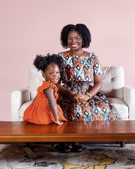 Autumn Adeigbo crop top dress and toddler girl dress in burnt orange.  Use code RTRFAM1814C72 to save 40% off the first two months of an 8-item or 16-item membership with Rent The Runway.  #LTKSale #LTKkids #LTKbaby