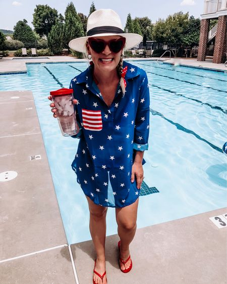 """""""You're seriously so extra"""" -my husband when he saw my look for the pool today. Hey! I can't help it...your girl loves a holiday theme! #liketkit @liketoknow.it http://liketk.it/2D5Df #LTKsalealert #LTKshoecrush #LTKstyletip #LTKswim #LTKunder50 #LTKunder100 Download the LIKEtoKNOW.it app to shop this pic via screenshot ."""