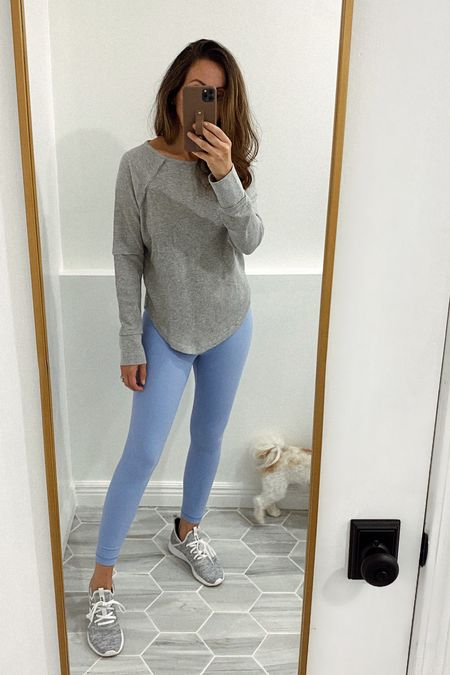 Thermal shirt in small (runs true to size but I sized up for a roomier fit). Leggings in small - tts. Sneakers tts for me. They're SOOO comfortable.   #LTKunder50 #LTKfit #LTKstyletip