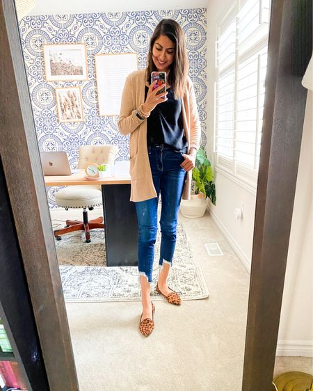 Fall favourite outfit - layering a black cami with a cardigan, chunky bracket, and leopard flats!   http://liketk.it/2Xn6n #liketkit @liketoknow.it