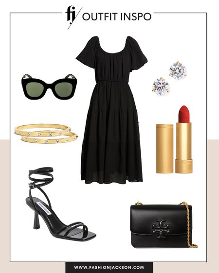 Love this under $100 black midi dress for summer. Dress it up or down with sneakers or sandals #summerdresses #dresses #blackdress #sandals #datenightdress http://liketk.it/3hbU1 #liketkit @liketoknow.it #LTKunder50 #LTKunder100 #LTKstyletip