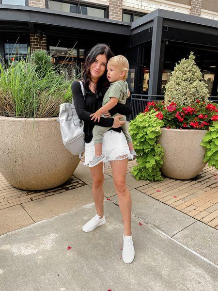 White sneakers. Baby boy outfit. Boy mom. Mom style. White shorts.   #LTKunder50 #LTKbaby #LTKsalealert