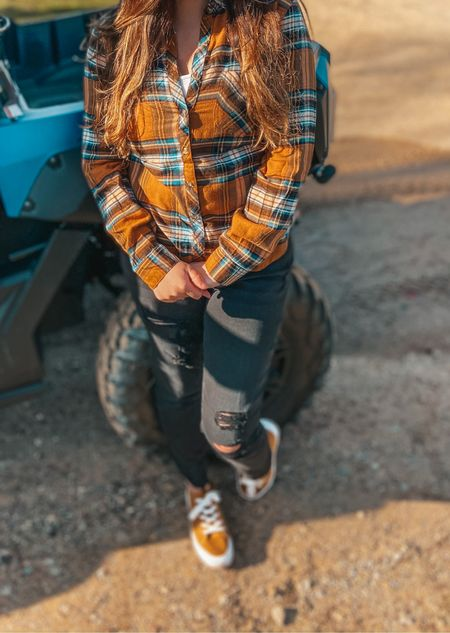 Would you believe me if I told you these cute sneakers are under $10 and sooo darn comfy!! Well, they are and I bought two pair because of it. They fit perfectly and these jeans are my new favorite black ones, especially with this flannel. I love my Flannel and plaid.   #LTKunder50 #LTKstyletip #LTKsalealert