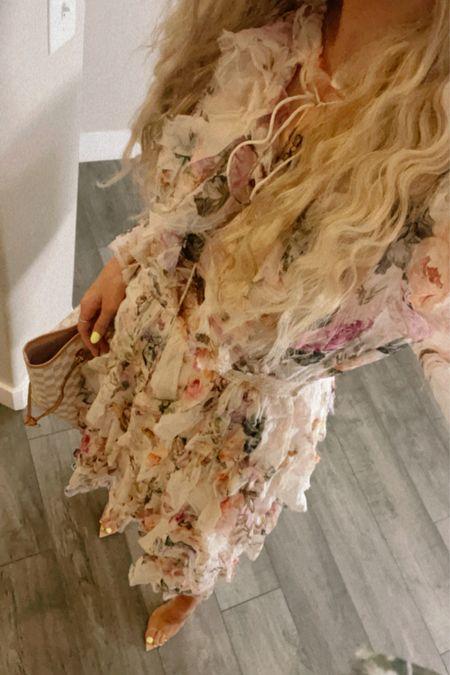 Sunday dress look. Zimmermann floral dress, Gianvito Rossi Pumps. Along with similar looks.  #LTKwedding #LTKstyletip #LTKSeasonal