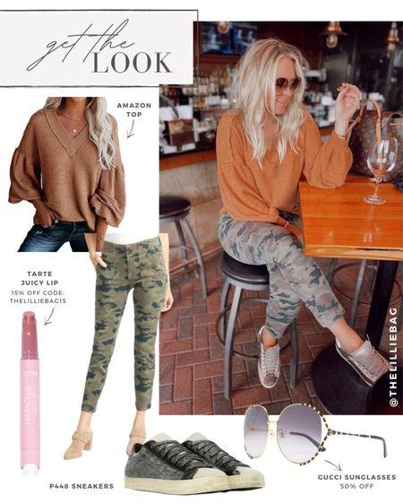 Get the look: fall outfit inspo. Amazon top. Camo utility pants. Gucci sunglasses 50% off. Tarte lip gloss 15% off code: THELILLIEBAG15. Fall style.   #LTKSeasonal #LTKunder100 #LTKsalealert
