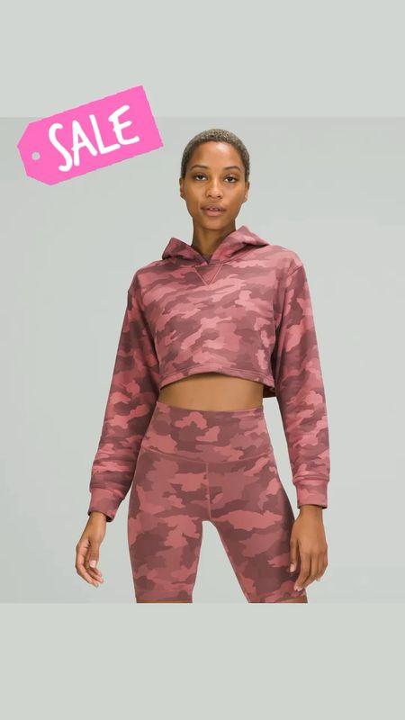 Lululemon cropped camo hoodie on sale   #LTKunder100 #LTKsalealert #LTKunder50