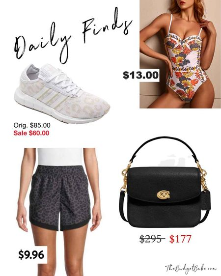 Some sale items that caught my eye! Adidas leopard sneakers, Coach purse, cute new shorts at Walmart and a Tik Tok famous bathing suit for $13. http://liketk.it/3gUCl #liketkit @liketoknow.it #LTKunder50 #LTKsalealert