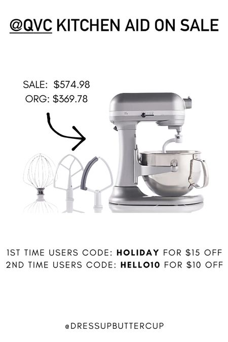 Sale: $369.78 Org: $574.98  Kitchen aid on sale at QVC!  1st time users code: HOLIDAY for $15 off  2nd time users code: HELLO10 for $10 off  #LTKGiftGuide #LTKsalealert #LTKhome