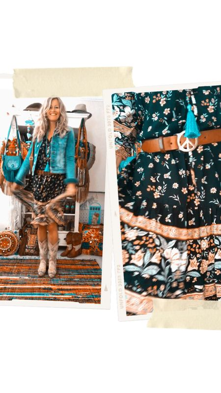 Happy summer vibes with this cute boho style dress flowers. As a finishing touch jeans jacket   #LTKstyletip