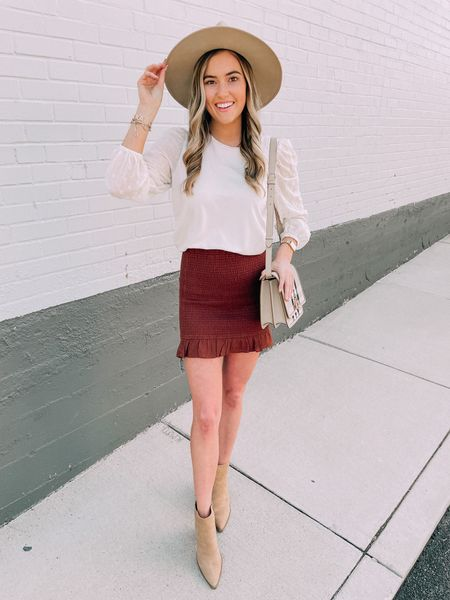 Fall has entered the chat🍂✨ This is the perfect fall outfit, I love this brown smocked skirt!  #LTKstyletip #LTKshoecrush #LTKSeasonal