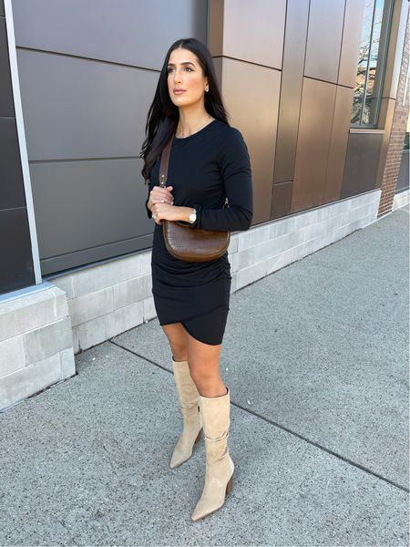 Ruched dress for fall from Amazon fashion and tall boots   #LTKSeasonal #LTKunder50 #LTKsalealert