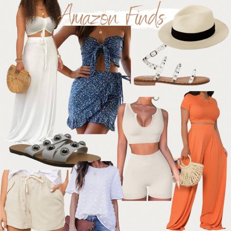 http://liketk.it/3iuNG #liketkit @liketoknow.it found it on Amazon, Amazon fashion, Amazon fashion finds, two piece sets, floral set, beach hat, sandals marc Fisher, Steve madden, studded sandals, linen shorts, at leisure set, summer outfit, summer style, vacation outfit, chiffon blouse
