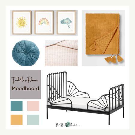 Toddler Girl Bedroom Mood Board.  Toddler.  Bedroom.  Pink bedding.  Printable.  Art.  Rainbow. Sun.  Twin bed.  Twin bedding.  Target bedding.  IKEA bed.  Tufted pillow.  Throw pillow.  Throw blanket.  Kid.  Kids room.  Colors.  Yellow.  Pink.  Blue. Velvet pillow.  World Market kids.  Art printables.  Framed prints.     http://liketk.it/3ecbs #liketkit #LTKfamily #LTKhome #LTKkids @liketoknow.it.family @liketoknow.it.home @liketoknow.it