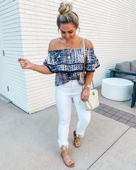 White denim frayed white denim off the shoulder top Walmart fashion   #LTKstyletip #LTKsalealert #LTKunder50