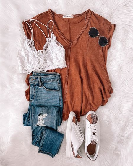 This Free People tee is in stock & on sale as is the bralette! Apart of Nordstrom Anniversary sale & both come in other colors!! Follow my shop on the @shop.LTK app to shop this post and get my exclusive app-only content!  #LTKsalealert #LTKunder100 #LTKstyletip
