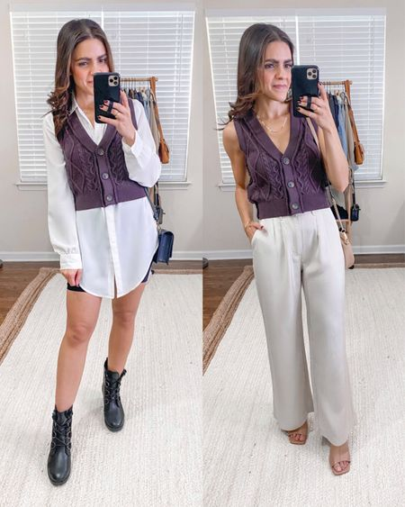 Fashion capsule week 3: ways to style a sweater vest: white button down tunic top, ABLE Wilma boot, tailored pants, heeled mules  #LTKstyletip