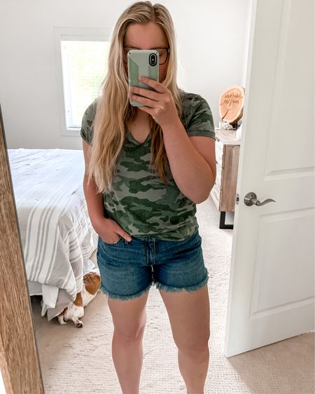 In love with these $15 shorts and $8 camo t-shirt!😍 Shorts are tts and have great coverage 👌🏼 http://liketk.it/2SjXP #liketkit @liketoknow.it #LTKsalealert #LTKstyletip #LTKunder50