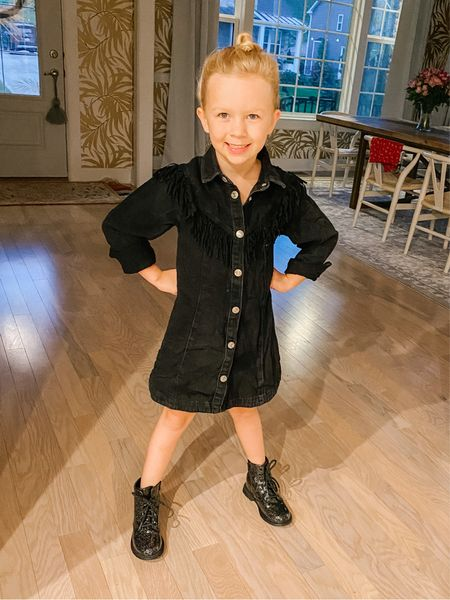 The dress is old Zara but the boots are the perfect budget-friendly buy for school (or if you're saving her new Docs for family photos!!), under $20! I linked them, and a pair for Goldie, at my LTK.   #LTKunder50 #LTKfamily #LTKkids