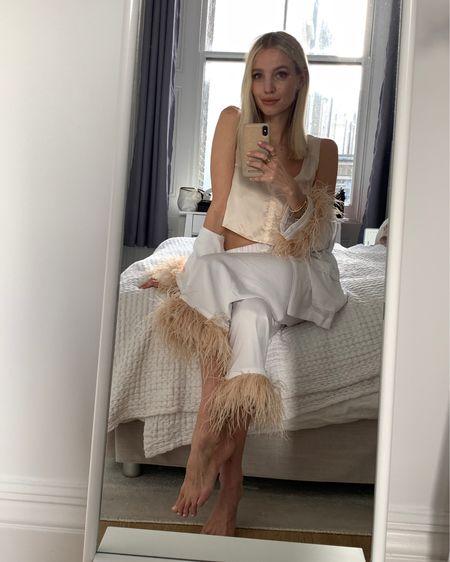 Loving these feathery silk pjs by Sleeper 🤍  #StayHomeWithLTK #LTKeurope #LTKstyletip @liketoknow.it #liketkit http://liketk.it/2MZl1