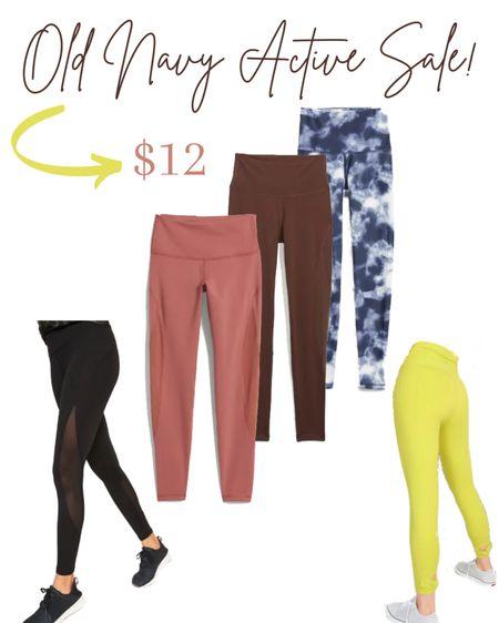 Old Navy compression leggings on sale for $12.  #LTKfit #LTKsalealert #LTKunder50