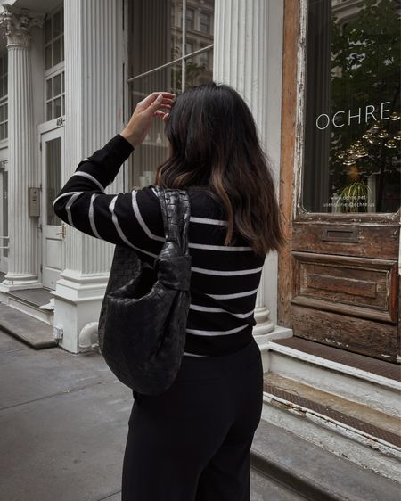 Striped Sweater + Small Bottega Veneta Jodie