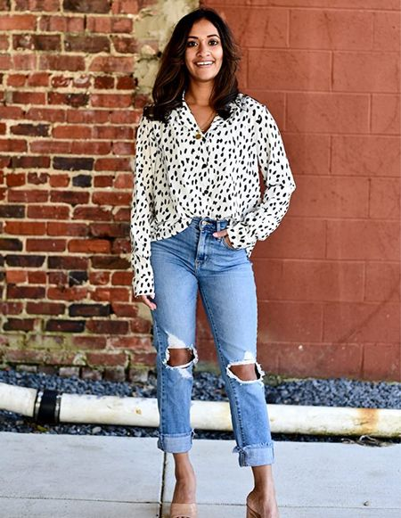 One of my favorite button down shirts for the office or for fun! Wearing size small in the ECOWISH Womens Casual Tops V Neck Leopard Tunic Long Sleeve Button Down Shirts Top! Amazon fashion outfit idea   #LTKunder100 #LTKunder50 #LTKstyletip