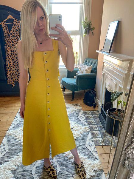 http://liketk.it/2PdZ0 #liketkit @liketoknow.it @liketoknow.it.home @liketoknow.it.family @liketoknow.it.europe #LTKeurope #LTKunder100 #LTKstyletip yellow dress, yellow dress outfit, midi dress, yellow summer dress, cotton dress, casual outfit styles, yellow midi dress, animal print slippers, animal print mules, animal print shoes, casual outfit ideas
