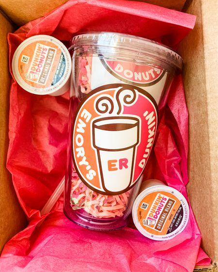 http://liketk.it/39aow #liketkit @liketoknow.it 16th Birthday Gift Idea for her!! #sweet16   - Dunkin Custom Tumbler  - Dunkin Sticker  - Car scents  - Hand sanitizer  - car Coasters