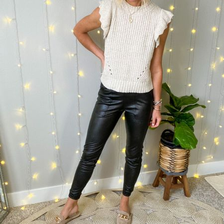 The Best Pant of the #nsale  These Spanx faux leather joggers are amazing & my favorite find for fall!  I got my normal size small in these.   #LTKunder100 #LTKstyletip #LTKsalealert