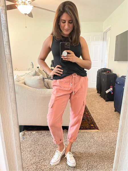 My tank is a size small and only 8$. Loving these new blush pants from old navy. Use code HURRY for 30% off  #LTKstyletip #LTKsalealert #LTKSale