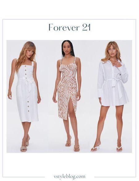 White Dresses, Summer Dress, Wedding Guest Dresses, Midi Dress, Mini Dress, LTK Day, Sale Alert  Linen-Blend Button-Front Dress (was $34.99, now $27.99), Tiger Striped Slit Dress (was $24.99, now $19.99), Belted Mini Shirt Dress (was $29.99, now $23.99)  #LTKunder50 #LTKsalealert #LTKDay