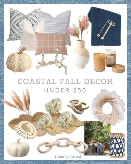 Some of my favorite fall decor pieces, all under $50! Many of these affordable fall decor pieces will likely sell out, so don't delay your purchases too long!  - fall decor, fall home decor, fall decorating, fall decorations, fall home decorations, home decor, decor under 50, home decor under $50, coastal decor, beach house decor, beach decor, beach style, coastal home, coastal home decor, coastal decorating, coastal interiors, coastal house decor, home accessories decor, coastal accessories, blue and white home, blue and white decor, neutral home decor, cane, seagrass, rattan, thanksgiving decor, faux pumpkins, fake pumpkins, decorative pumpkins, decorative objects, Halloween decor, Halloween home decor, neutral fall decor, neutral pumpkins, textured decor, textured pumpkins, rattan pumpkins, woven pumpkins, white pumpkins, thanksgiving tablescape, fall tablescape, fall target decor, target home decor, target fall decor, target finds, affordable fall decor, affordable home decor, fall pillows, fall pillow covers, fall throw blankets, fall candles, pumpkin candles, fall stems, fall wreaths, fall coffee table books, fall vases, pampas grass, stems for vase, dried florals, grapewood branch, chain link decor, decorative chain link, wood chain link, coffee table decor, bookshelf decor, target decor, target home, amazon decor, amazon home, fall amazon decor, decorative beads, bead strand decor, beads decor, bone beads, decorative wood beads, faux artichokes, wood bowls, bowl filler, vase filler, textured decor, blue and white pillows, candle trimmer, gold candle snuffer, brass candle snuffer, chunky knit throw blanket, navy throw blanket, target throw blanket, ivory pillows, rust pillows, chenille throw blanket  #LTKunder50 #LTKhome #LTKSeasonal