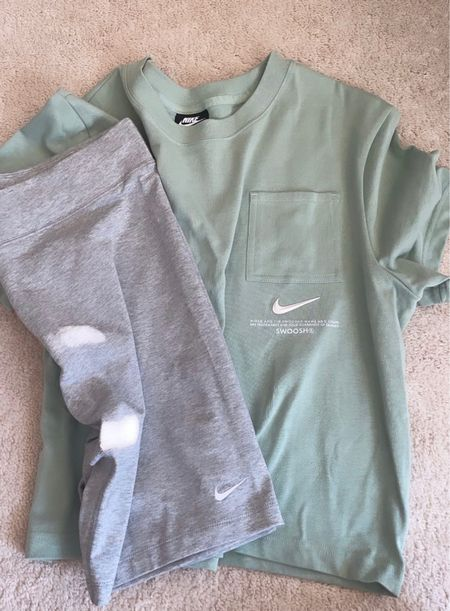 Perfect Nike loungewear outfit. Oversized pocket T-shirt and biker shorts   #LTKunder50