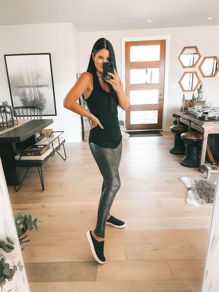 I linked my black lace Bralette and my black layering tank. Go up a size in the tank! I'm wearing a large and it's only $19. Comes in multiple colors. These snake printed leggings are spanx faux leather leggings new arrivals! I'm wearing a small. Use code DTKxSPANX for 10% off your order.    #LTKsalealert #LTKstyletip #LTKunder100