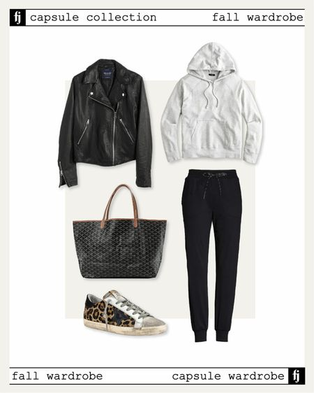Fall capsule wardrobe! Casual fall outfit idea with a leather jacket, joggers, a hoodie sweatshirt and golden goose sneakers    #LTKunder50 #LTKunder100 #LTKstyletip