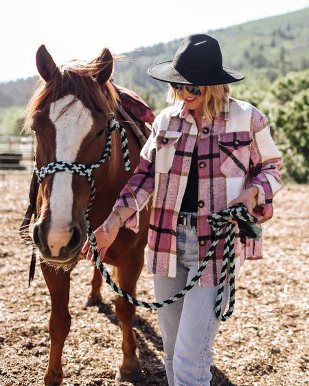 Western, horses, cowgirl, shacket, wool hat, belt http://liketk.it/3hE0Y #liketkit @liketoknow.it #LTKstyletip #LTKunder100