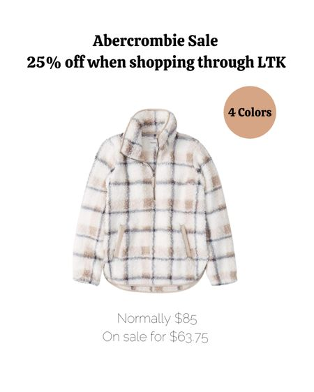 Fall outfits, fall fashion, zipup, Abercrombie, plaid, sherpa, jacket.   #LTKSale #LTKSeasonal #LTKsalealert