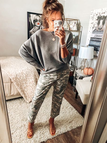 Camo twills are on sale at Gap Factory, styled with a cute batwing sweater from Amazon   Fall outfits, sweaters, now and later tops, Amazon fashion, Amazon finds, weekend outfits, casual chic, fall #ltkfall #founditonamazon  #LTKsalealert #LTKstyletip #LTKunder50