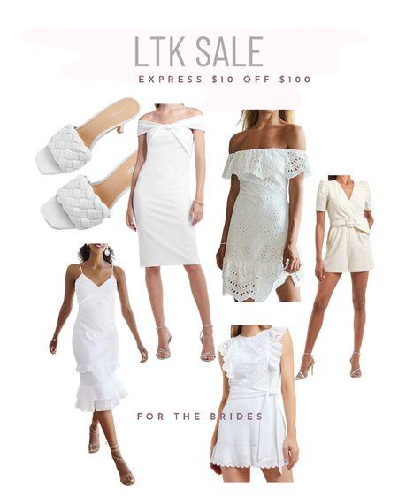 Express sale $10 off $100! Bridal attire - white dresses and cute white heels! http://liketk.it/3hv3t #liketkit @liketoknow.it #LTKsalealert #LTKwedding #LTKshoecrush