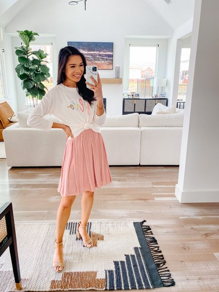 Summer outfit with a lightweight sweater and pink skirt. Everything fits true to size including my scallop block heels. Perfect for date night, brunch and more. Also linking my entryway decor and living room furniture.   #LTKhome #LTKsalealert #LTKstyletip