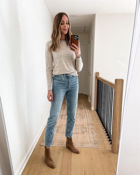 Everlane fall sweater, Everlane jeans, booties, #falloutfits #booties #sweaters   #LTKstyletip #LTKshoecrush #LTKunder100