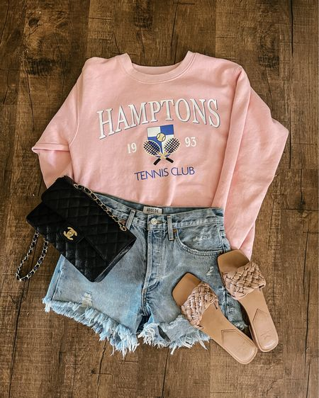 Hamptons tennis sweatshirt. Tenniscore outfit. Tennis core. Pink sweatshirt. Light pink sweatshirt. Philcos sweatshirt. Summer outfit. Agolde Parker shorts. Distressed denim shorts. Marc Fisher slide sandals. Chanel small classic flap bag. Chanel bag. Black Chanel bag. Nordstrom finds. Shopbop finds. Bloomingdale's finds. Revolve finds. ❤️❤️❤️ http://liketk.it/3hbRs #liketkit @liketoknow.it #LTKstyletip #LTKshoecrush #LTKitbag Shop your screenshot of this pic with the LIKEtoKNOW.it shopping app Shop my daily looks by following me on the LIKEtoKNOW.it shopping app