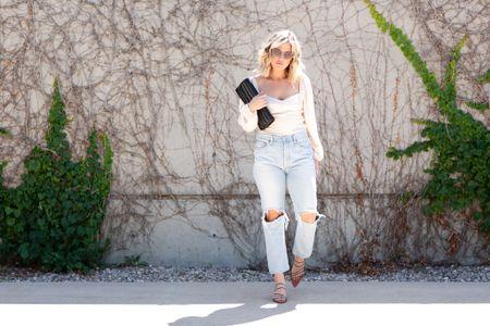 Perfect Summer to Fall Transition look: high-rise denim, long-sleeve bodice top, krewe sunnies, and strappy heels   #LTKstyletip #LTKSeasonal #LTKshoecrush
