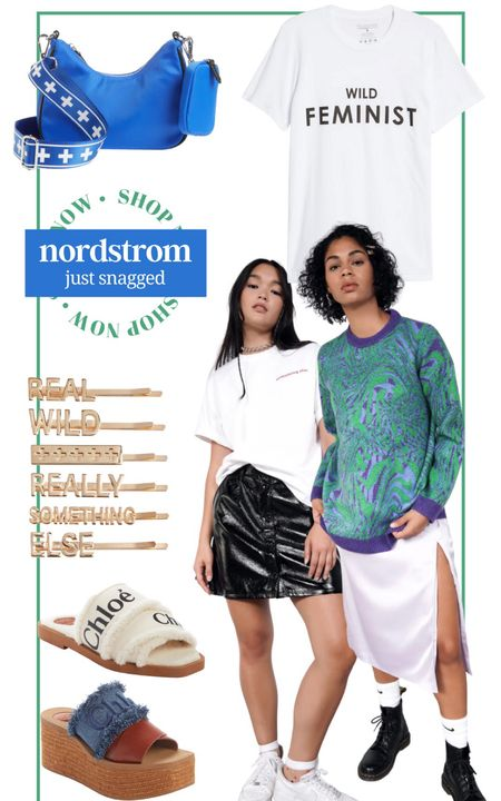 Just snagged from Nordstrom! Feminist shirt girl power graphic tee girls girls girls quote pin quote barrette hair Chloe wedges Chloe sandals fall sandals oversized sweater funky sweater leather mini skirt edgy skirt dad fashion small purse crossbody edge purse neon purse alternative fashion gift for her fall fashion hipster fashion women empowerment   #LTKstyletip #LTKshoecrush #LTKunder100